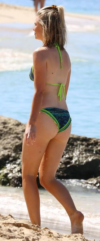 awesome babe Georgia Toffolo in neon green bikini