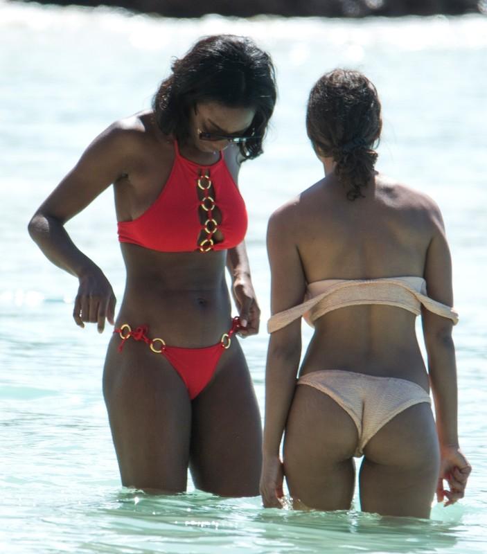 black hottie Mouna Traore in red bikini