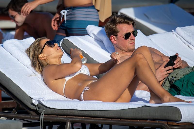 handsome lady Sylvie Meis in revealing white bikini
