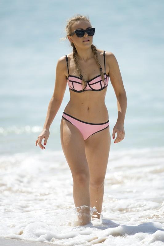charming babe Tallia Storm in pink & orange bikini