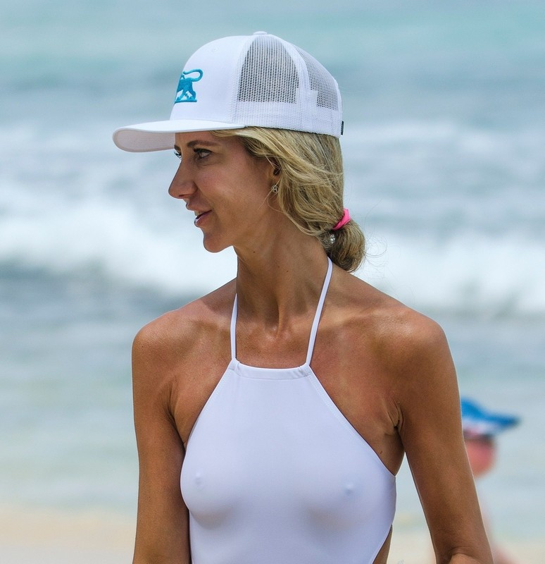 attractive milf Lady Victoria Hervey in white swimsuit
