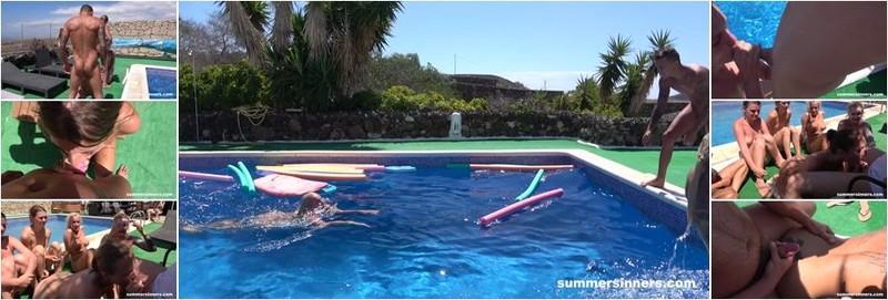 Jarushka Ross, Daisy Lee, Lady Bug, Katy Rose, Silvia Dellai, Tereza, Alice Nice - Groupsex games in the pool (FullHD)
