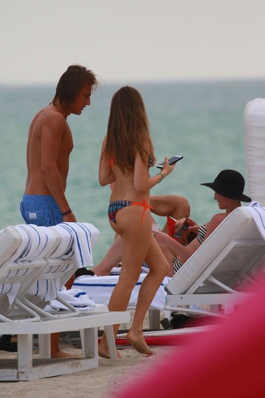 attractive babe Xenia Tchoumitcheva in bralet bikini