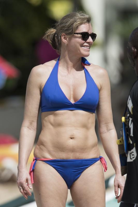 hot milf Elizabeth Waterhouse in blue bikini