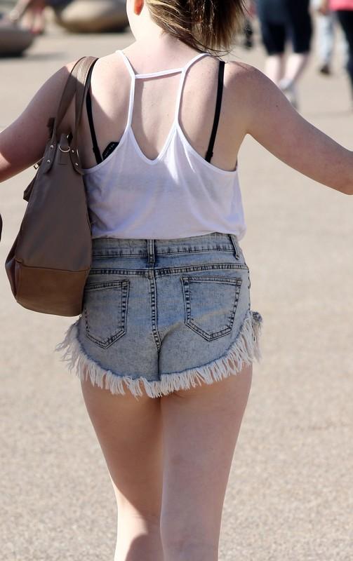 sexy babe in denim shorts