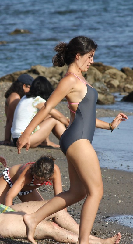 great figure in a one-piece swimsuit