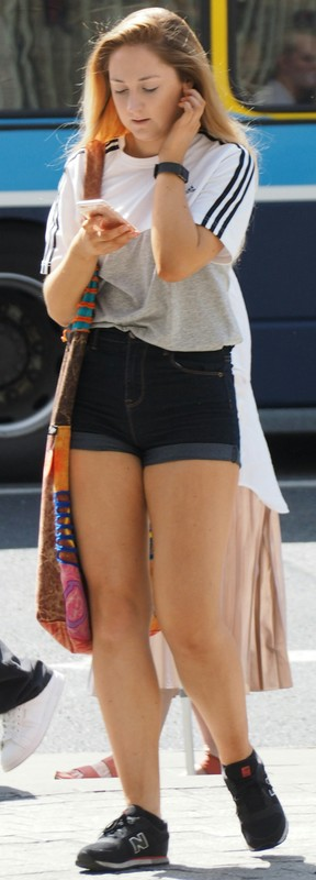 adorable lady in denim shorts