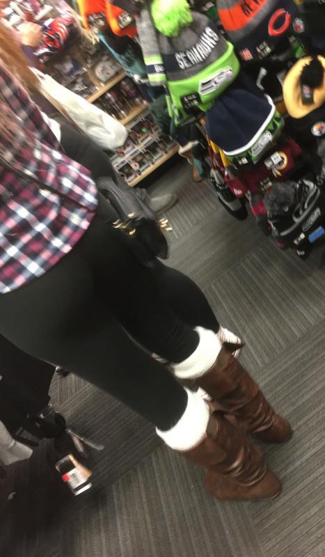 blonde teen in black lycra leggings