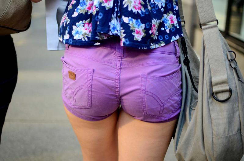 nice ass in purple shorts