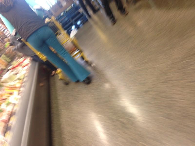 nice milf in blue yoga pants